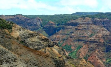 Waterfalls stream down Waimea Canyon in Kauai