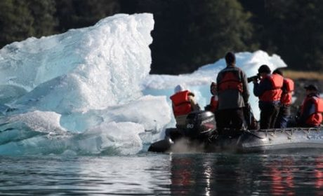photographing icebergs in LeConte Bay, Alaska