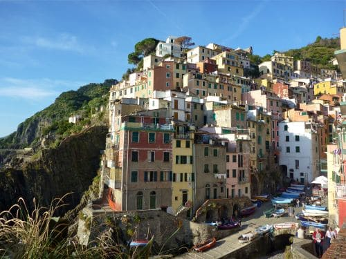 The beautiful coastal town of Riomaggiore in Cinque Terre