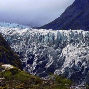 Jagged ice of Fox Glacier in New Zealand
