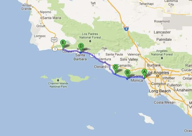 Road map from Santa Barbara to Los Angeles, California