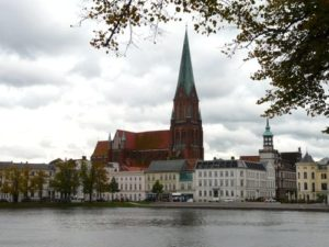 Gothic cathedral rises above Schwerin, Germany