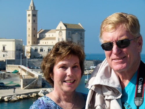 Alan and Donna Hull in Trani, Italy
