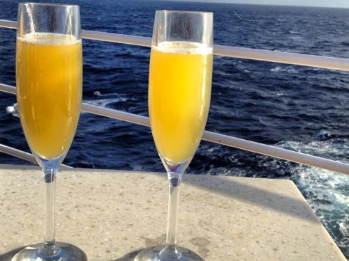 Mimosas for breakfast on Silver Spirit