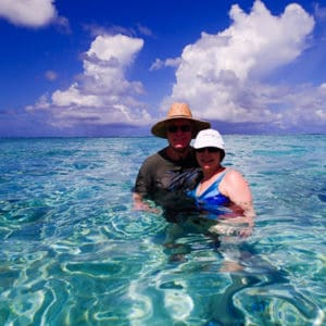 Alan and Donna Hull swim with stingrays in Bora Bora.
