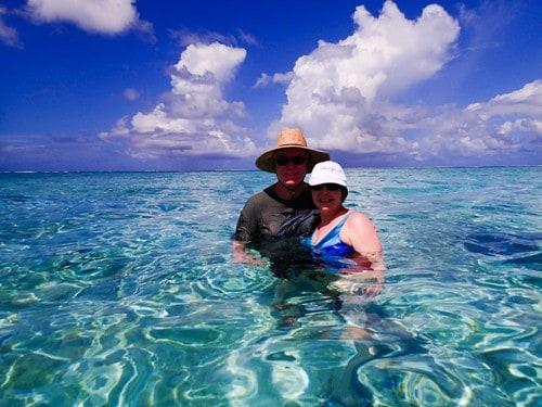 Alan and Donna Hull swim with stingrays in Bora Bora.
