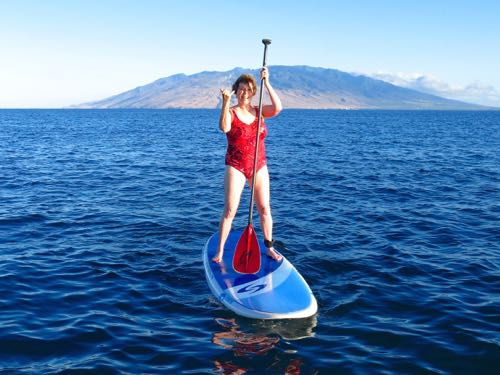 Donna Hull paddleboarding on Maui