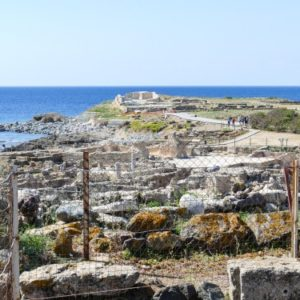a set of ancient ruins on the coast