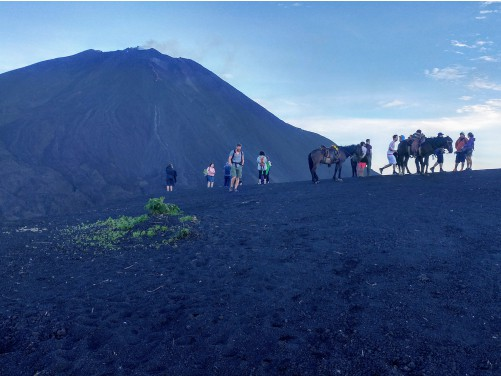 view of people hiking to volcano