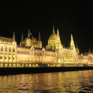 Budapest buildings at night