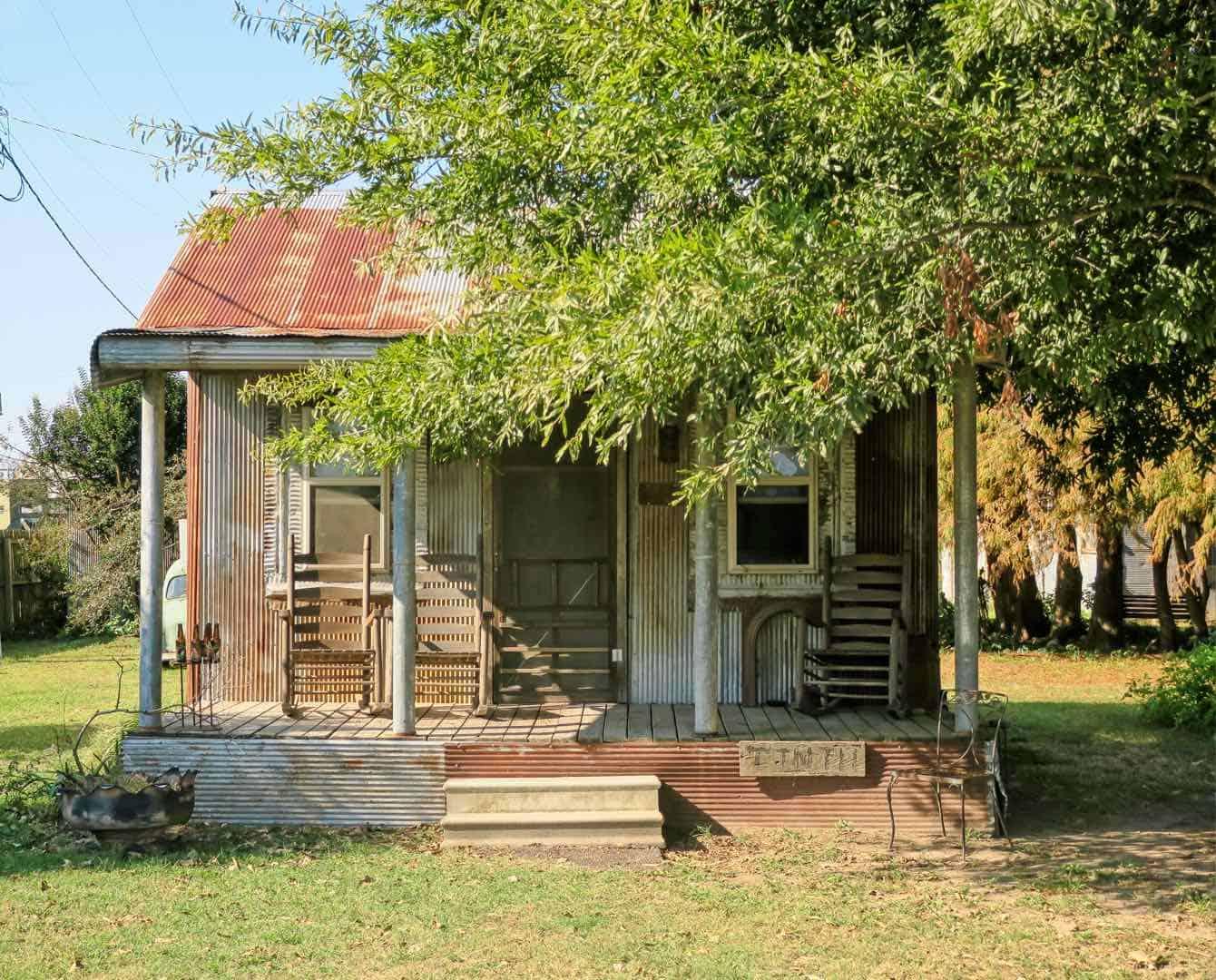 shack next to a tree