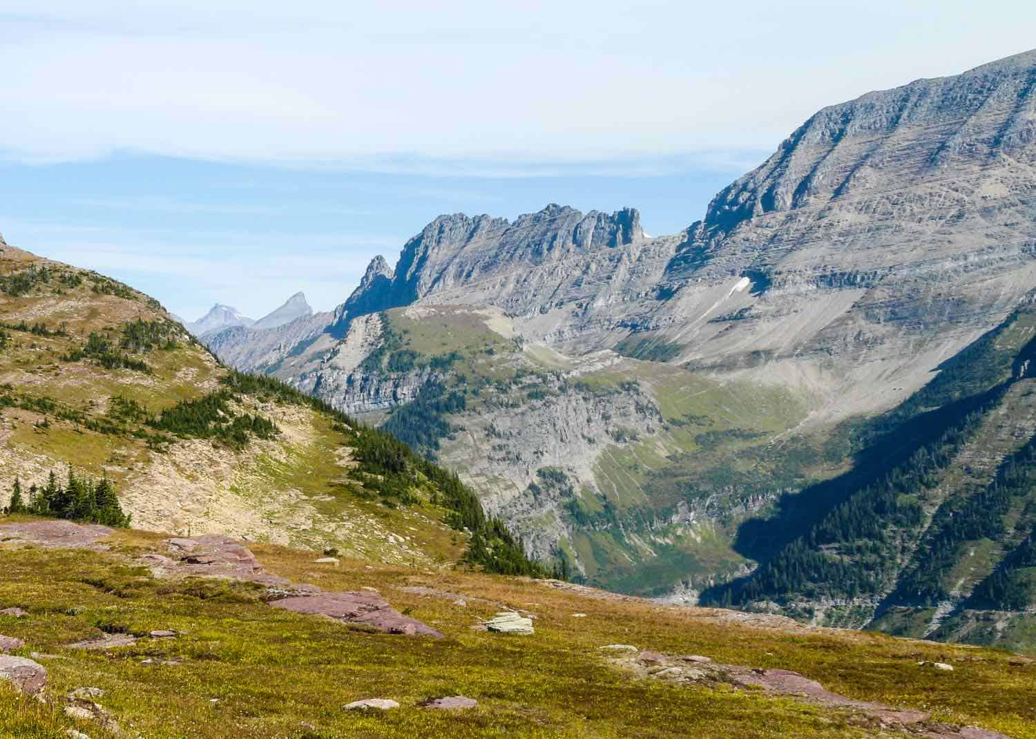 tundra surrounded by mountains in Glacier National Park