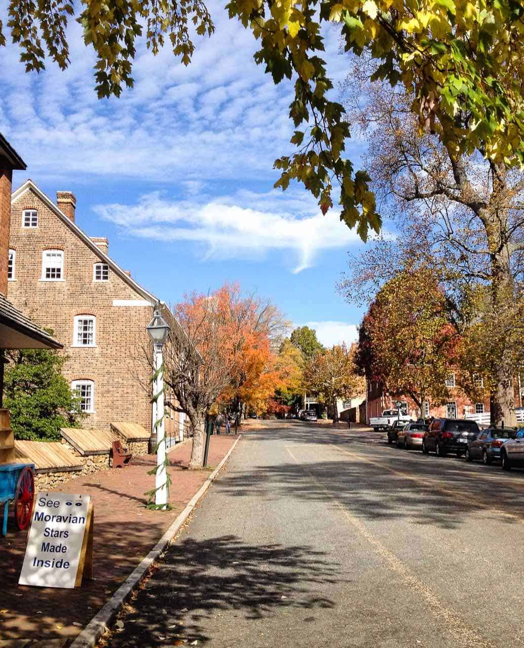 Street bordered by colorful fall leaves and brick buildings