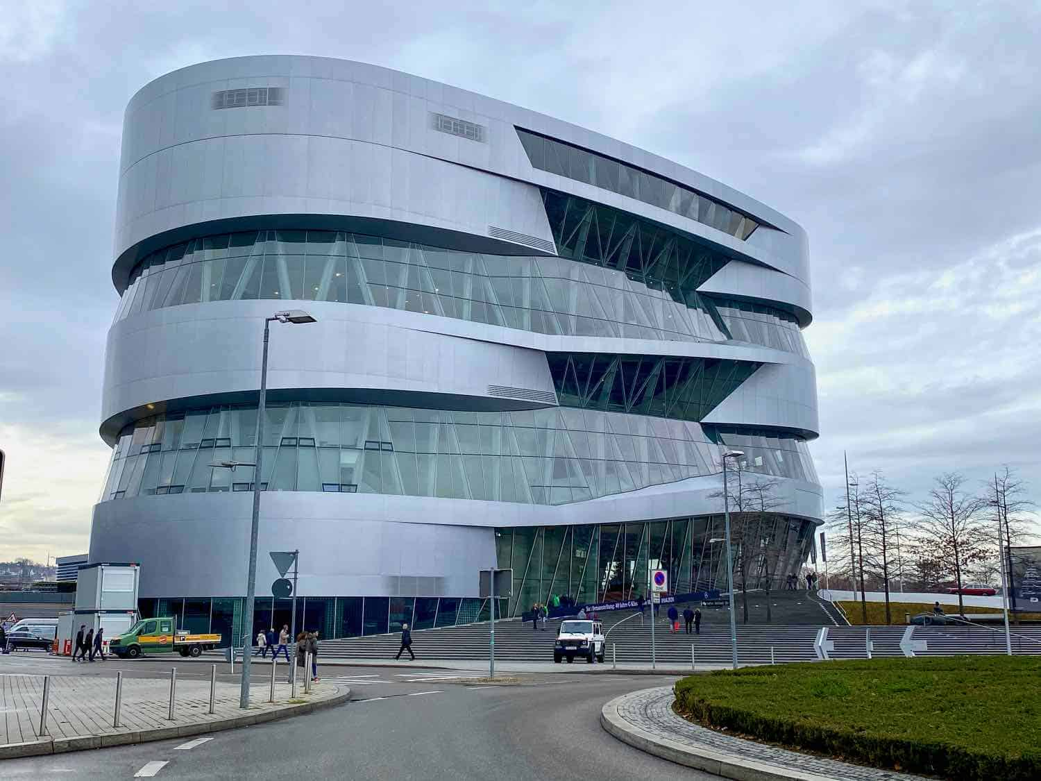 The Mercedes Museum has rounded edges that makes for a futuristic look