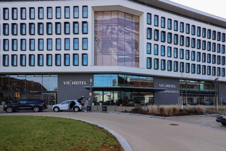 Exterior of the V-8 hotel building in Stuttgart, Germany
