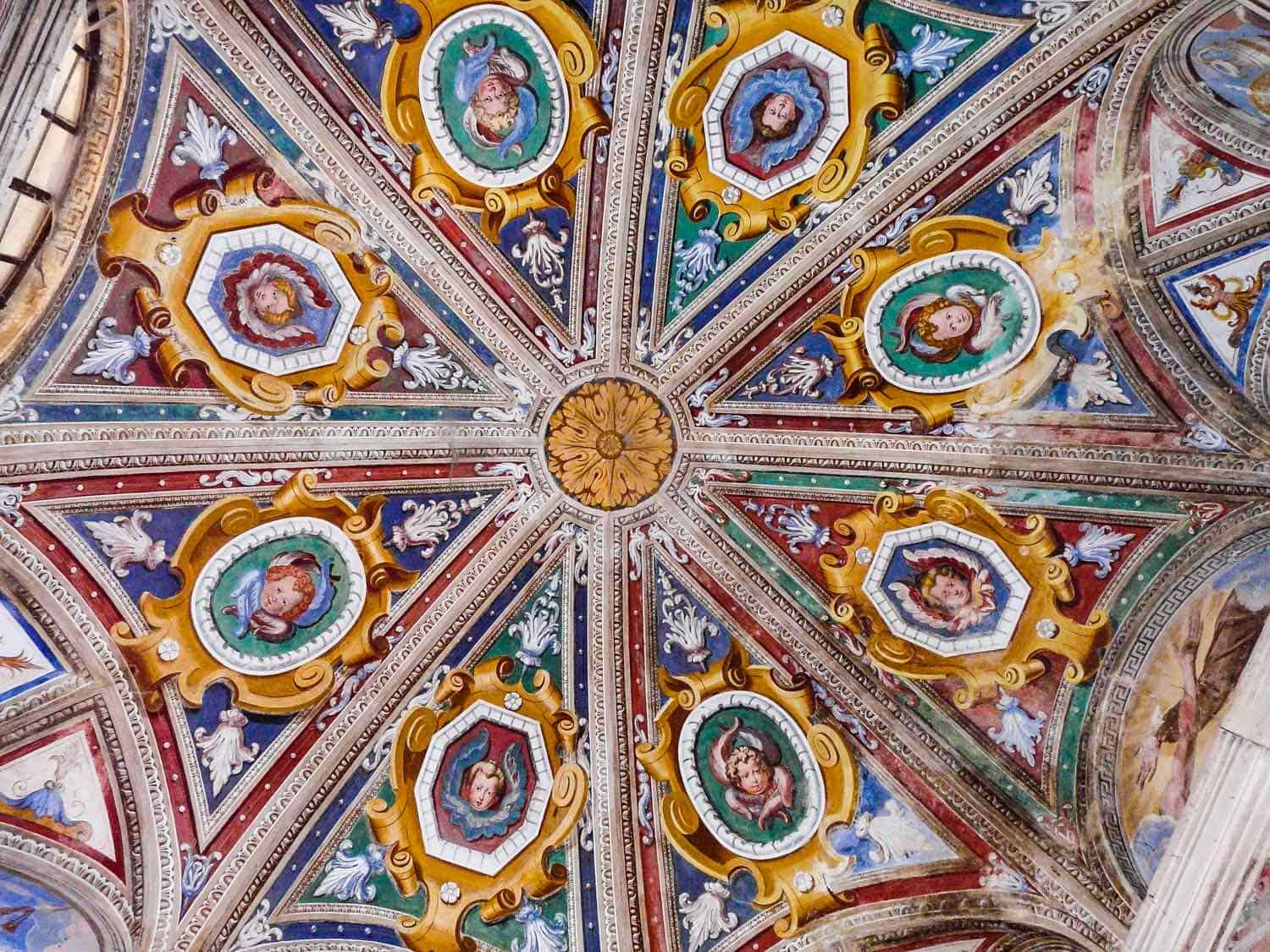 Blue, red and gold fresco ceiling