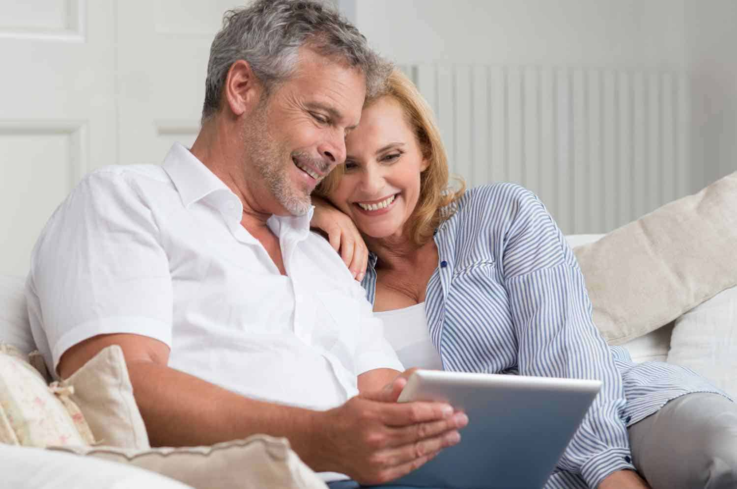 Couple making vacation plans