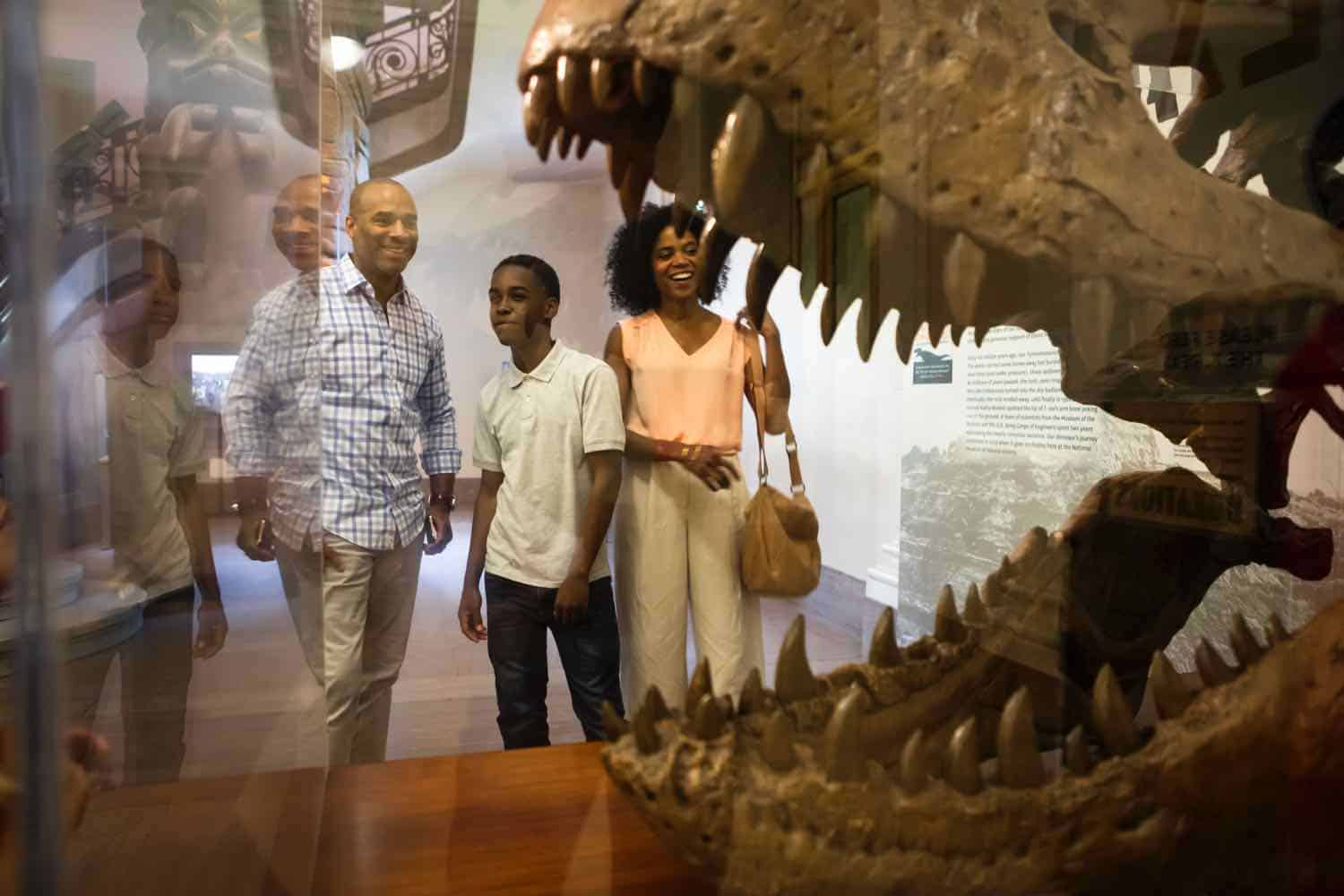 Family visiting a museum