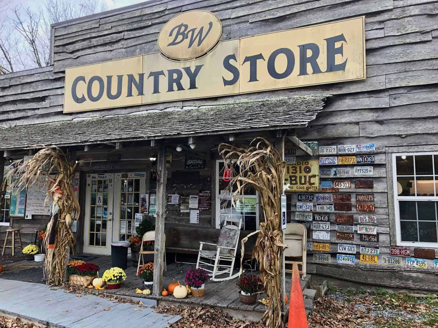 Old country store with rocking chairs on the front porch