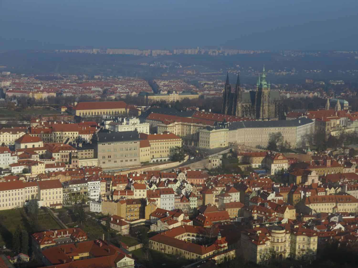 View of red rooftops in Prague