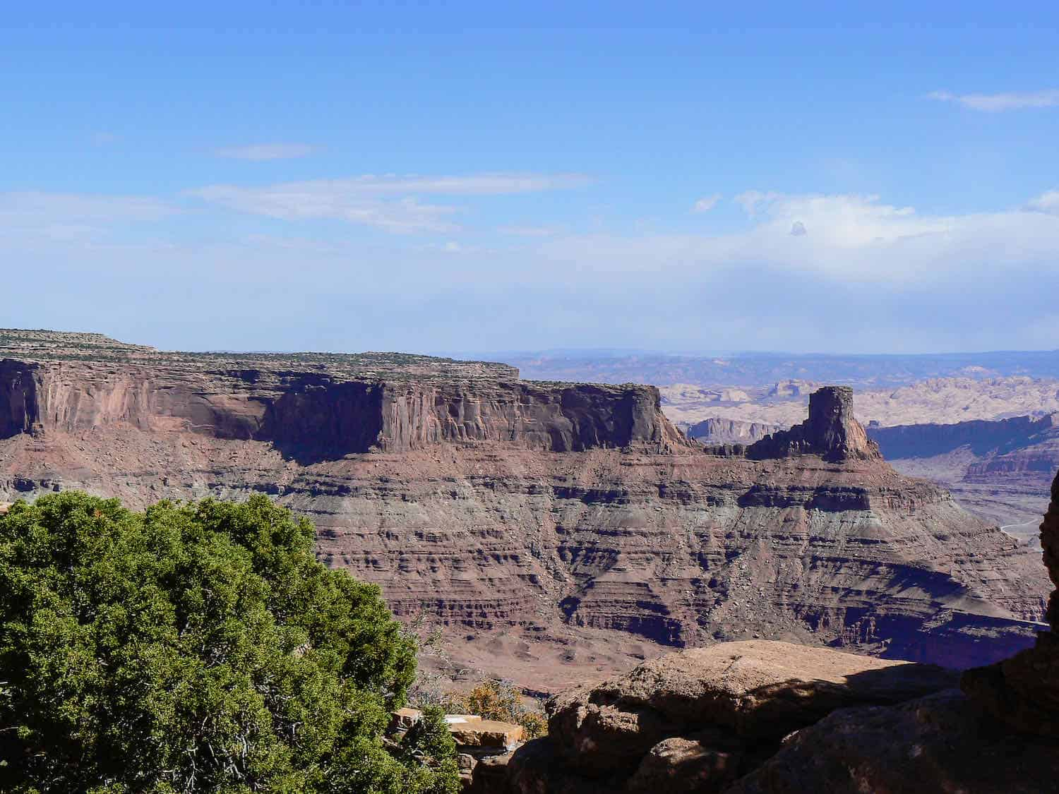 View of layered rocks in buttes at Dead Horse Point State Park.