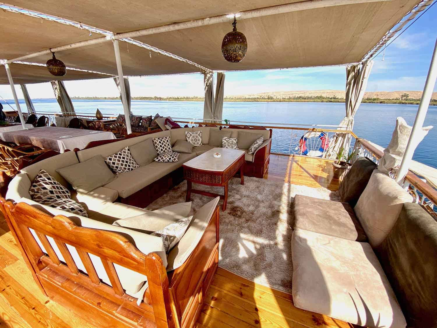 lounge seating on a river boat cruising the Nile River