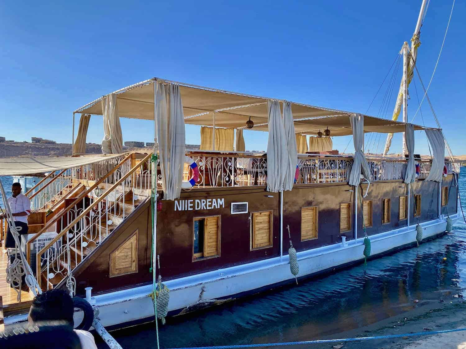 Double decker river boat on the Nile River