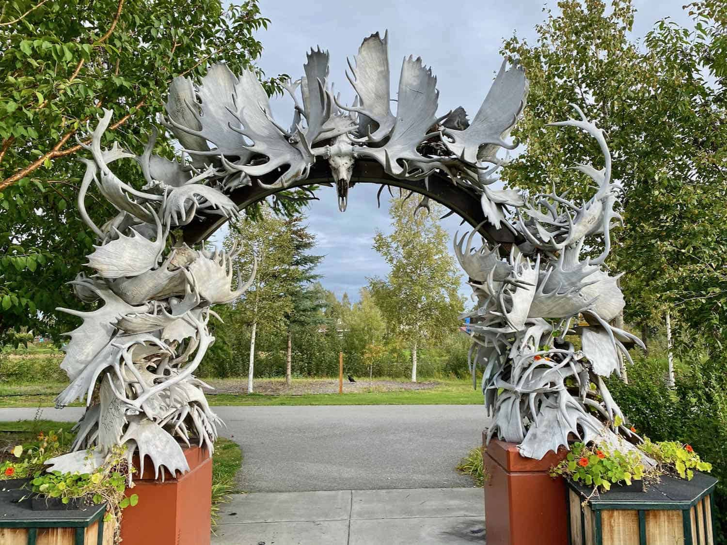 Arch made of moose and caribou antlers in Fairbanks, Alaska. Photo by Debi Lander