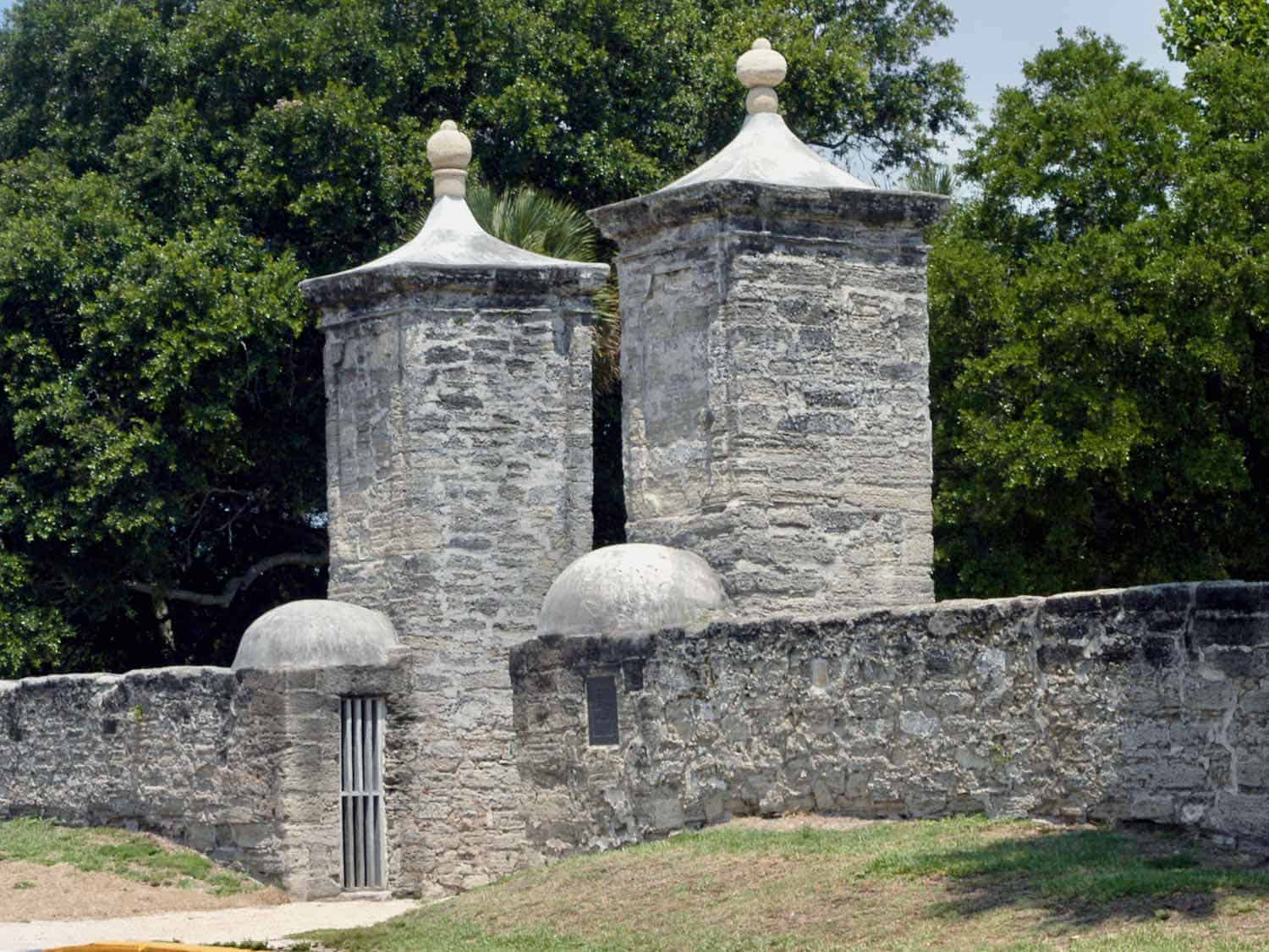 Gray wall and towers made of seashells in St Augustine, Florida