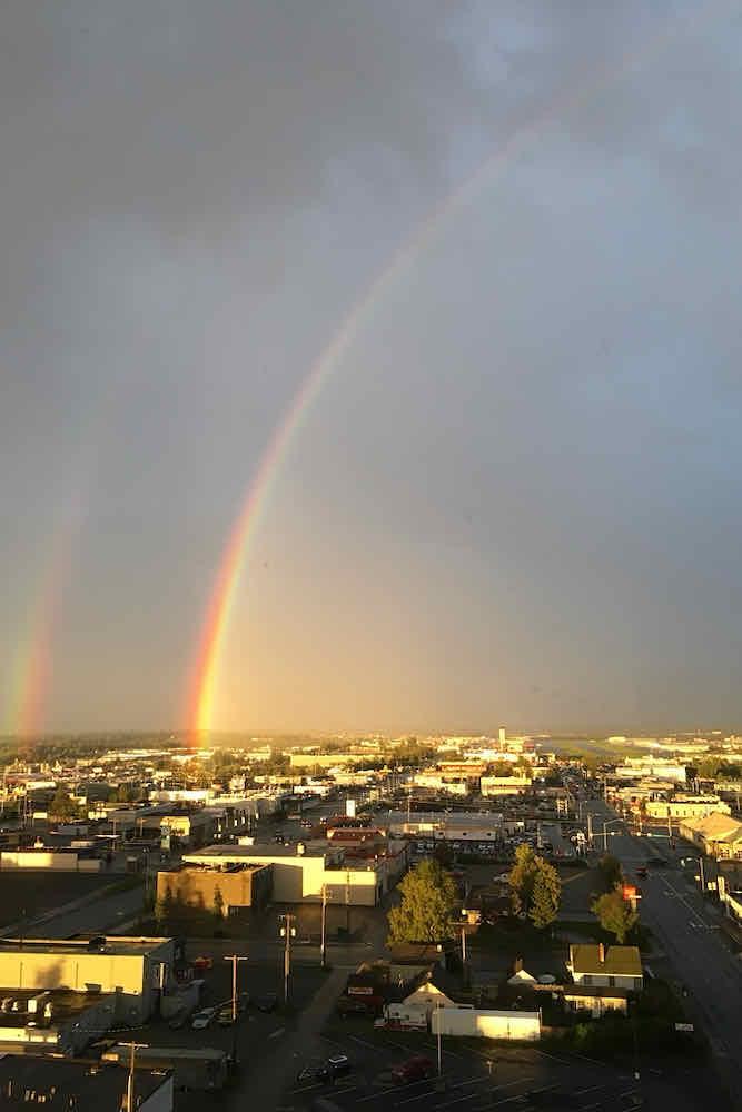 Rainbow in the sky over Anchorage Alaska
